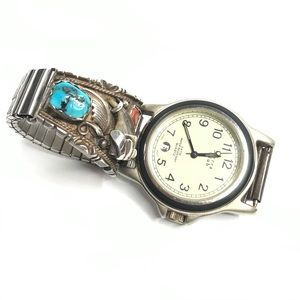 VTG Sterling Silver Watch Southwestern Turquoise